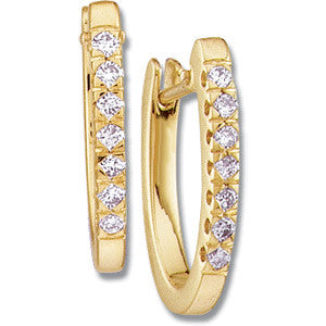 (0.20 Carat) Diamond & 14k Yellow Gold Hoop Earrings set with 14 Diamonds (Color: H | Clarity: SI)