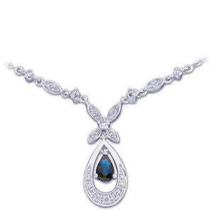 (0.50 Carat) 14K White Gold Pearshaped Blue Sapphire + Diamond Necklace