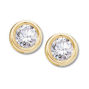 DIAMOND EARSTUDS = .50 CARATS! 14K GOLD BEZEL EARRINGS
