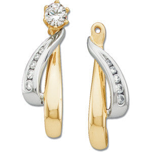 14K Yellow + White Gold Elongated Dangling Diamond Earring Jackets for Diamond Studs
