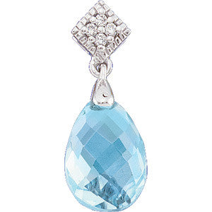 (3 Carat) 14K White Gold Swiss Blue Topaz + Diamond Pendant
