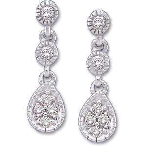 14K White Gold Antique, Vintage Style Diamond Dangling Earrings