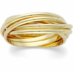 14K Yellow Gold 6-Band Rolling Ring Wedding Band (Size 8)