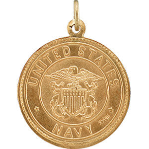"14K Yellow Gold St. Christopher Medal Pendant - U.S. NAVY Edition (3/4"")"