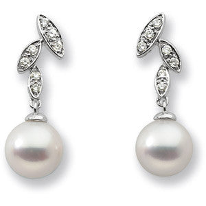 14K White Gold Cultured Freshwater Pearl (7MM) + Diamond Cluster Dangling Earrings