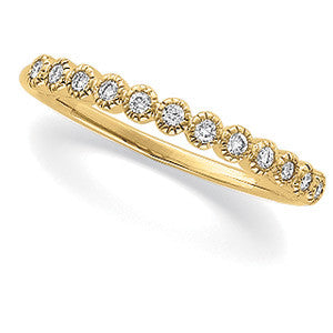 (.16 Carat) 14K Yellow Gold Round Diamond Wedding Band (Color: I, Clarity: SI)