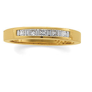 (0.50 Carat) 14K Yellow Gold Princess Cut + Baguette Diamond Wedding Ring, Anniversary Band (Color: H, Clarity: SI)