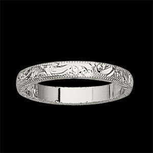 14K White Gold Antique, Vintage Style Hand Engraved Wedding Band (3.75MM)