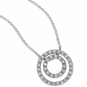 (0.25 Carat) 14K White Gold Pendant Necklace w/ 2 Diamond Circles