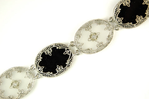 BLACK ONYX DIAMOND CAMPHOR GLASS BRACELET STERLING FILIGREE