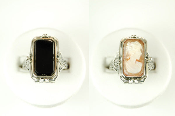 FLIP RING  BLACK ONYX w CAMEO STERLING SILVER TWO RINGS IN ONE RETAIL $250 + TAX!