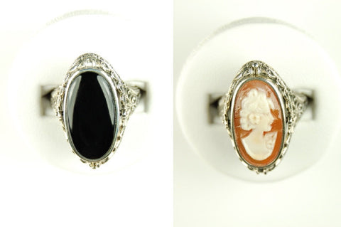 CAMEO AND BLACK ONYX FLIP RING STERLING SILVER FILIGREE
