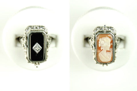 BLACK ONYX DIAMOND CAMEO FLIP RING ANTIQUE STYLE STERLING
