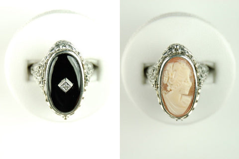 BLACK ONYX DIAMOND CAMEO FLIP RING ANTIQUE STYLE