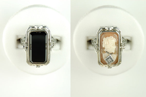 CAMEO DIAMOND BLACK ONYX FLIP RING ANTIQUE STYLE STERLING