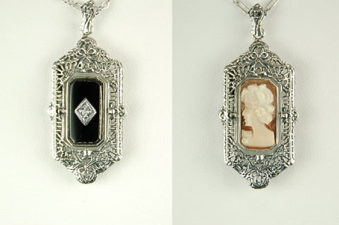 BLACK ONYX w CAMEO DIAMOND FLIP PENDANT STERLING ANTIQUE STYLE