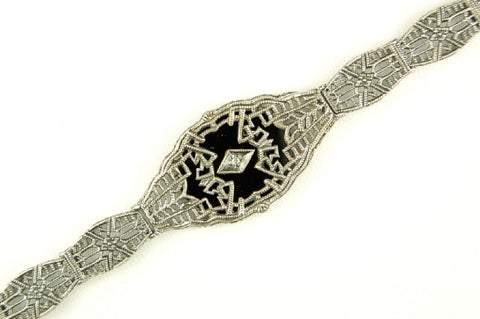 ANTIQUE STYLE STERLING SILVER BRACELET BLACK ONYX DIAMOND FILIGREE