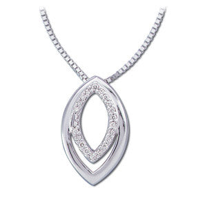 "(0.10 Carat) 14K White Gold Oval Diamond Necklace (16"")"