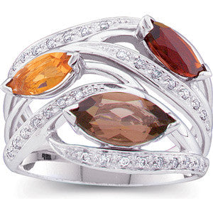 14K White Gold Marquise Citrine, Smokey Quartz, Madeira Citrine + Diamond Ring
