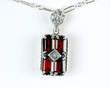 ANTIQUE STERLING SILVER NECKLACE GARNET DIAMOND