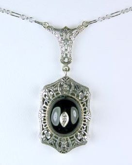 ANTIQUE STYLE STERLING NECKLACE BLACK ONYX DIAMOND FILIGREE
