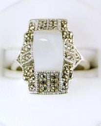 ANTIQUE STERLING RING MOTHER OF PEARL MARCASITE