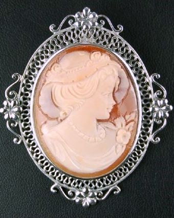 ANTIQUE STYLE STERLING CAMEO PIN PENDANT
