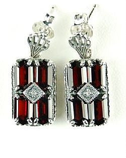 ANTIQUE STYLE STERLING SILVER EARRINGS GARNET DIAMOND