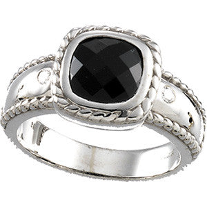 14K White Gold Black Onyx (8MM) Diamond Ring
