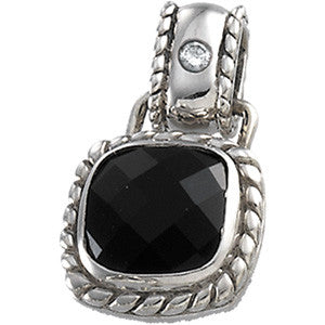 14K White Gold Cushion Cut Black Onyx (8MM) + Diamond Pendant