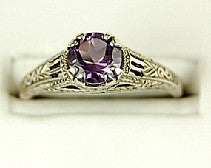 ANTIQUE STERLING SILVER RING AMETHYST .75 CARATS!