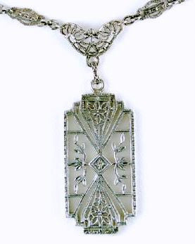 ANTIQUE STERLING SILVER NECKLACE CRYSTAL DIAMOND