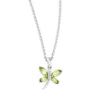 "14K White Gold Necklace w/ Peridot and Diamond Dragonfly (20"")"