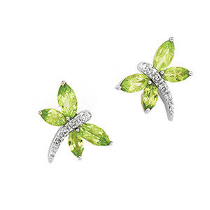 14K White Gold Peridots + Diamond Dragonfly Stud Earrings