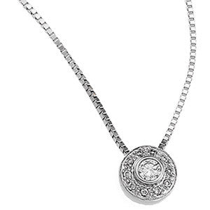 (.18 Carat) 14K White Gold Diamond Halo Necklace