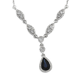 14K White Gold Vintage Style Sapphire + Diamond Necklace