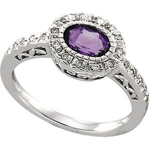 (1 Carat) 14K White Gold Vintage, Halo Style Oval Amethyst + Diamond Ring (February Birthstone)