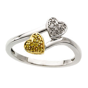 14K White Gold Yellow + White Diamond Two Heart Bypass Design Ring