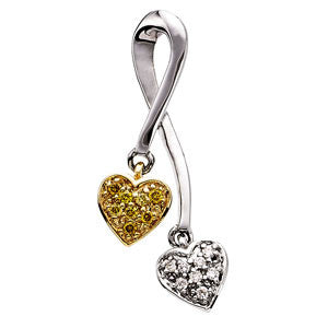 14K White Gold White + Yellow Diamond Two Heart Bypass Design Slide Pendant