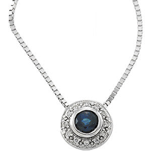 "(0.25 Carat) 14K White Gold Sapphire + Diamond Pendant Necklace (18"") Box Link Chain (1.5MM)"
