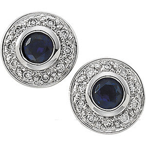 (0.15 Carat) 14K White Gold Blue Sapphire + Diamond Stud Earrings