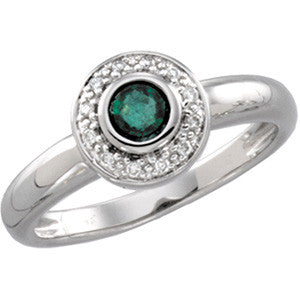 (0.25 Carat) 14K White Gold Emerald + Diamond Ring