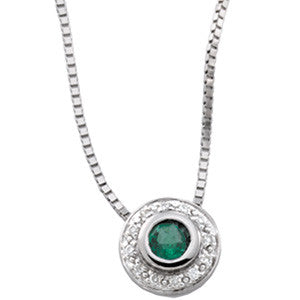 "(0.25 Carat) 14K White Gold Emerald + Diamond Pendant Necklace (18"")"