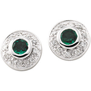 (0.45 Carat) 14K White Gold Emerald + Diamond Stud Earrings