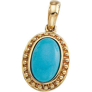 14K Yellow Gold Oval Turquoise Pendant w/ Gold Beading Detail
