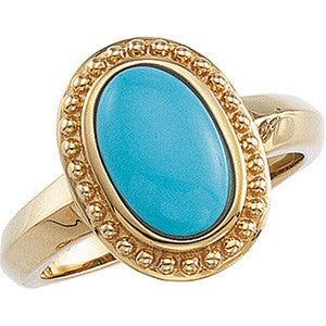 (4 Carat) 14K Yellow Gold Oval Turquoise Ring w/ Etruscan Style Gold Bead Work
