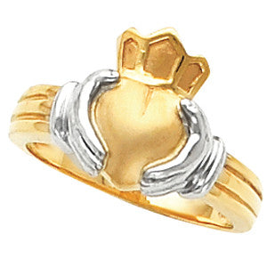 14K Yellow Gold Men's Claddagh Ring w/ White Gold Accents (Size 10)