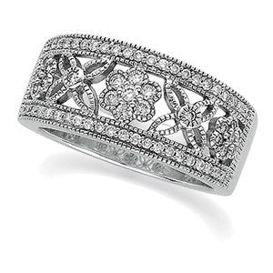 (0.50 Carat) 14K White Gold Diamond Anniversary Band, Wedding Ring w/ Flower Shaped Diamond Clusters (Color: H, Clarity: SI)