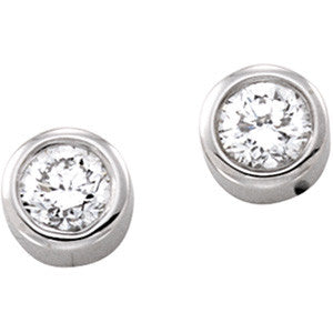 14k White Gold .25 Carat Round Diamond Earrings
