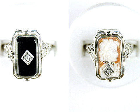 RING CAMEO BLACK ONYX DIAMOND FLIP RING STERLING SILVER